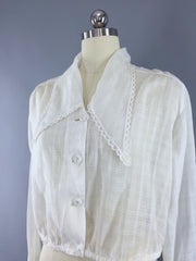 "Vintage 1910s-1920s Blouse / White Cotton ""Wayne Maid""  Cropped Shirt Tops ThisBlueBird"