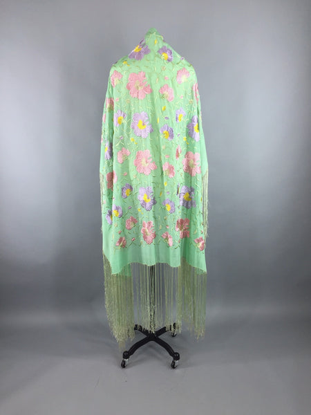 Vintage 1920s - 1930s Embroidered Silk Fringed Piano Shawl Wrap