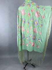 Vintage 1920s - 1930s Embroidered Silk Fringed Piano Shawl Wrap Accessories ThisBlueBird