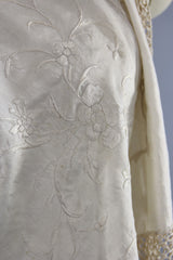 Vintage 1920s - 1930s Ivory Silk Embroidered Piano Shawl Accessories ThisBlueBird