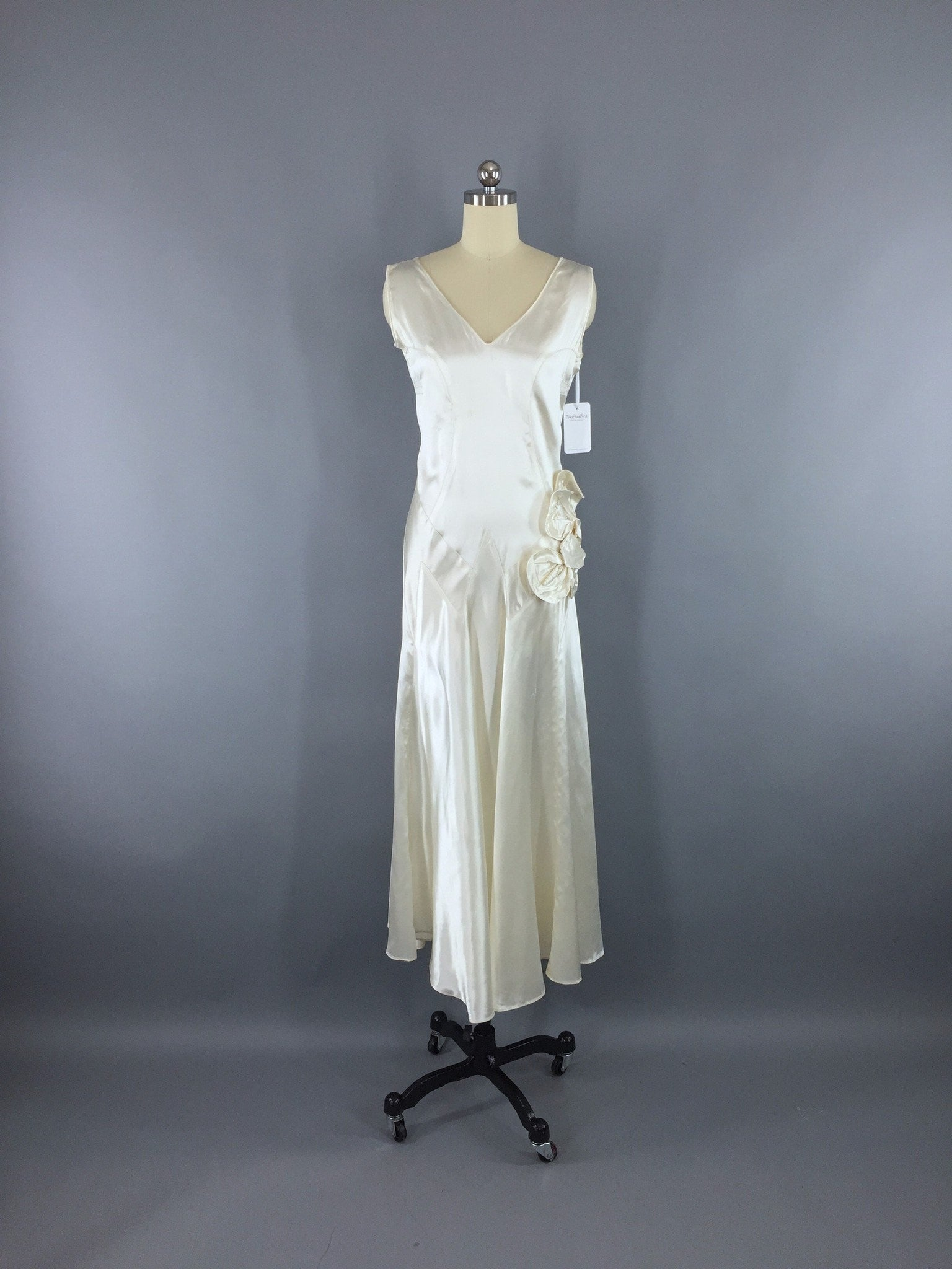 Vintage 1920s Art Deco Bias Cut Satin Wedding Gown Dress Dress ThisBlueBird