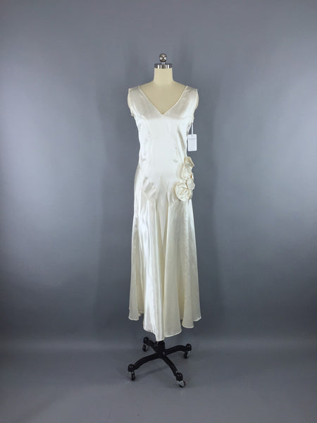 Vintage 1920s Wedding Dress / White Satin Bridal Gown - ThisBlueBird ...