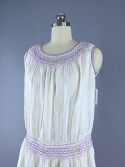 Vintage 1920s Embroidered Cotton Peasant Dress Dress ThisBlueBird