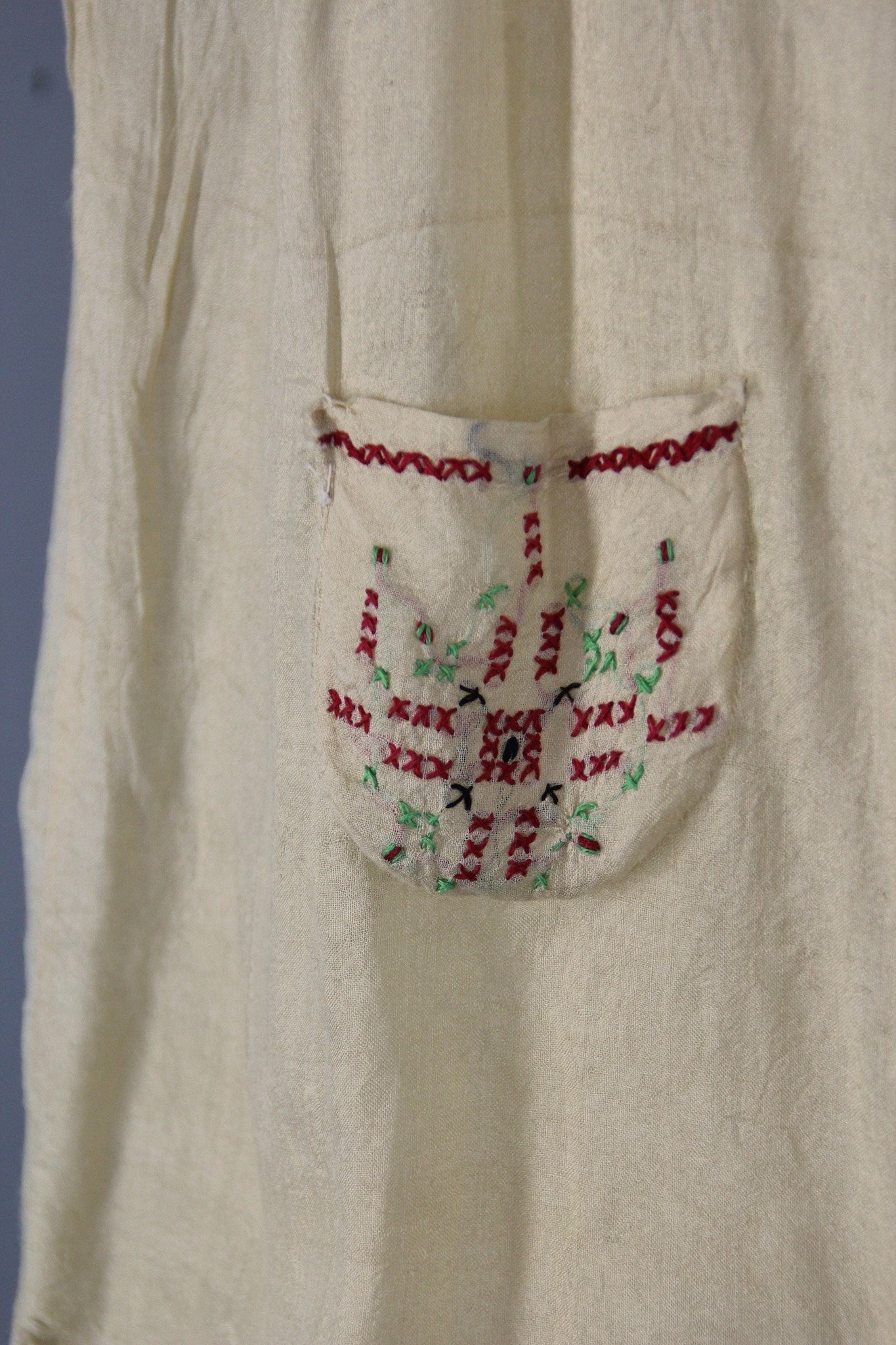 1e6bb7801c370d Vintage 1920s Pongee Silk Embroidered Peasant Blouse