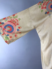 Vintage 1920s Silk Robe / Art Deco Asian Floral Print Silk Wrapper Lingerie ThisBlueBird
