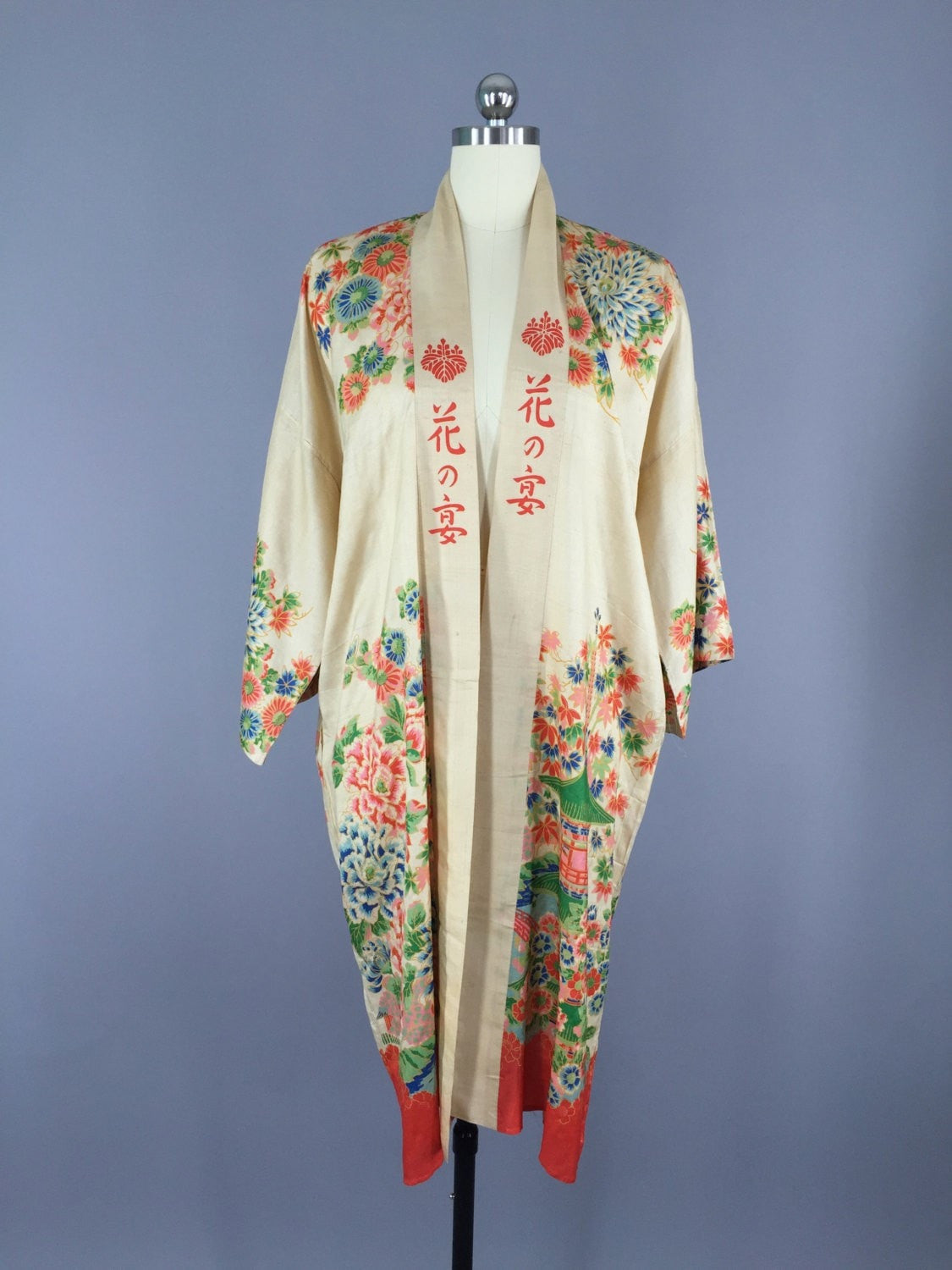 Vintage 1920s Silk Robe / Art Deco Chinoiserie Dressing Gown ...