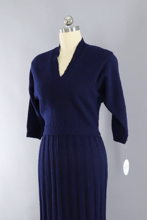 Vintage 1930s - 1940s Navy Blue Wool Knit Sweater and Skirt Set-ThisBlueBird - Modern Vintage