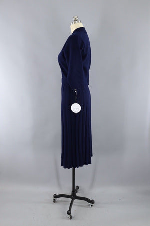 Vintage 1930s - 1940s Navy Blue Wool Knit Sweater and Skirt Set - ThisBlueBird
