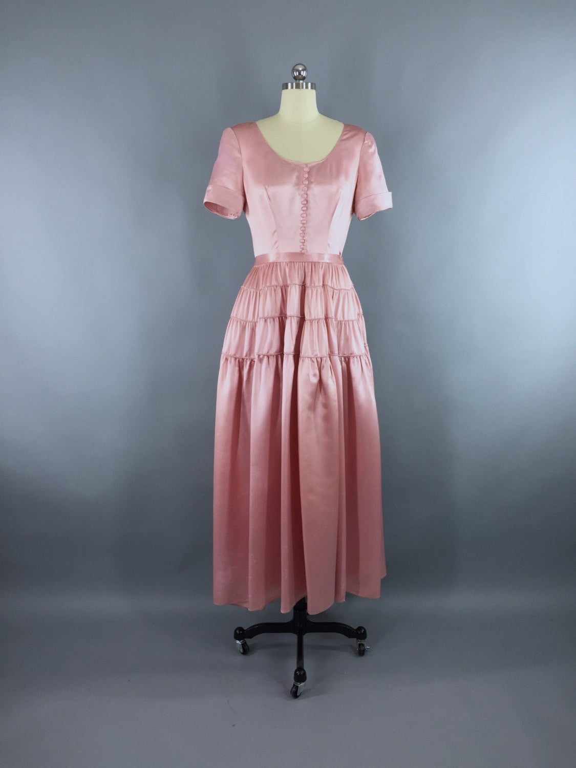 Vintage 1930s-1940s Satin Gown / Pink Maxi Dress Dress ThisBlueBird