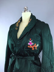 Vintage 1930s-1940s Satin Lingerie Bed Jacket / Embroidered Dragons Lingerie ThisBlueBird