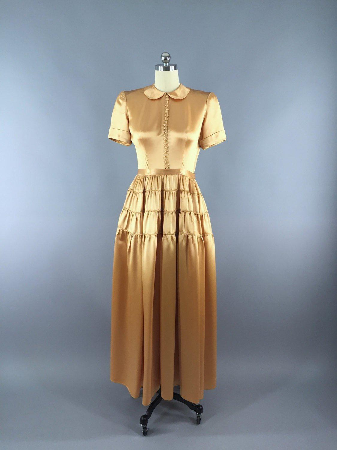 a7001b90ab08 Vintage 1940s Fred Perlberg Gold Satin Gown Maxi Dress