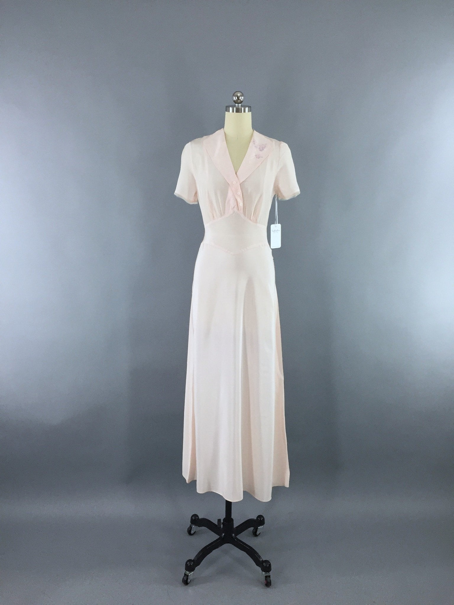 Vintage 1930s Artemis Bias Cut Pink Embroidered Rayon Crepe Nightgown Lingerie ThisBlueBird