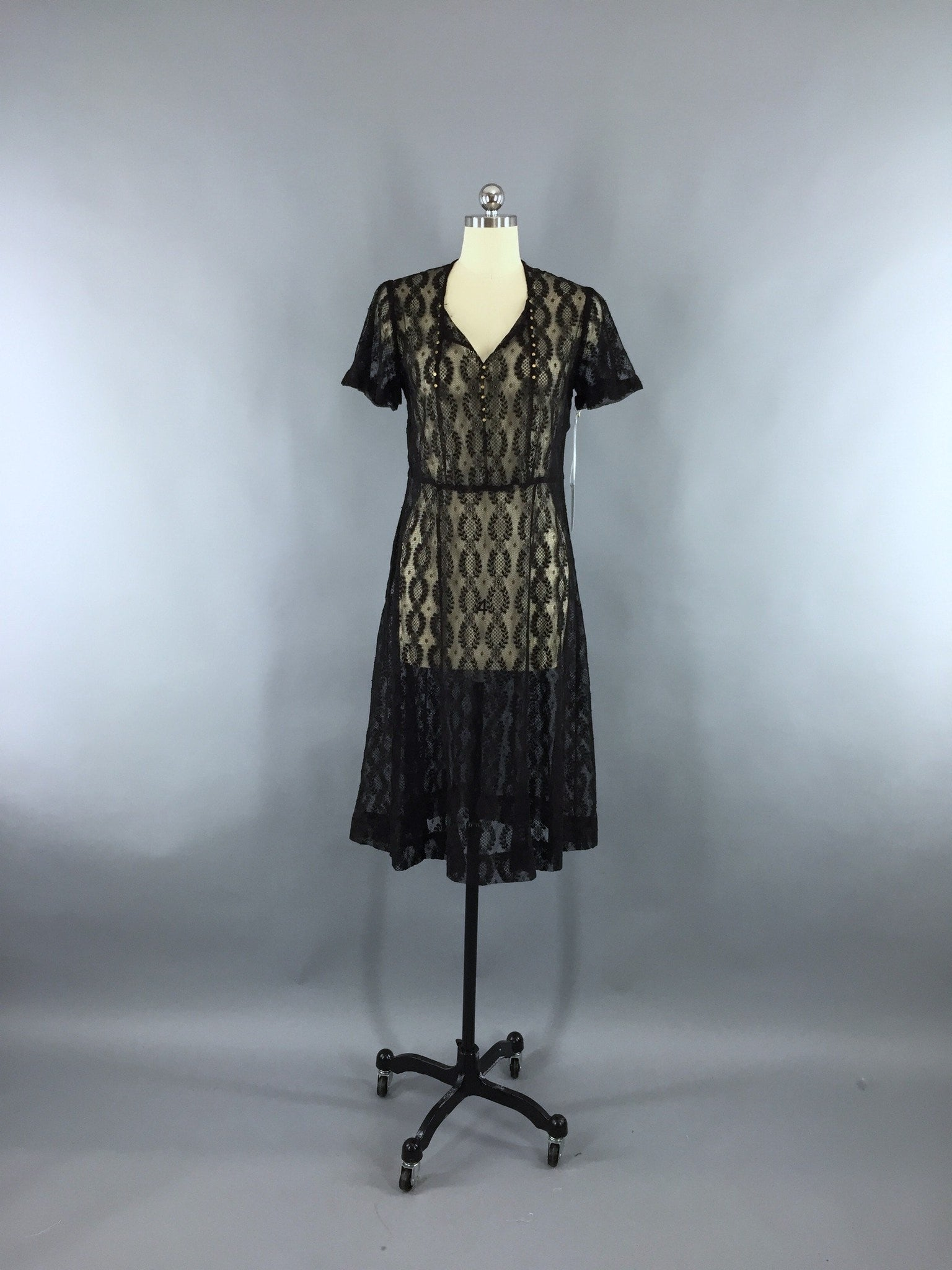 Vintage 1930s Bias Cut Black Lace Day Dress Dress ThisBlueBird