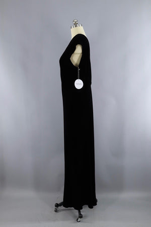Vintage 1930s Bias Cut Black Velvet Dress