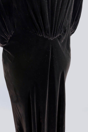 Vintage 1930s Bias Cut Black Velvet Dress-ThisBlueBird - Modern Vintage