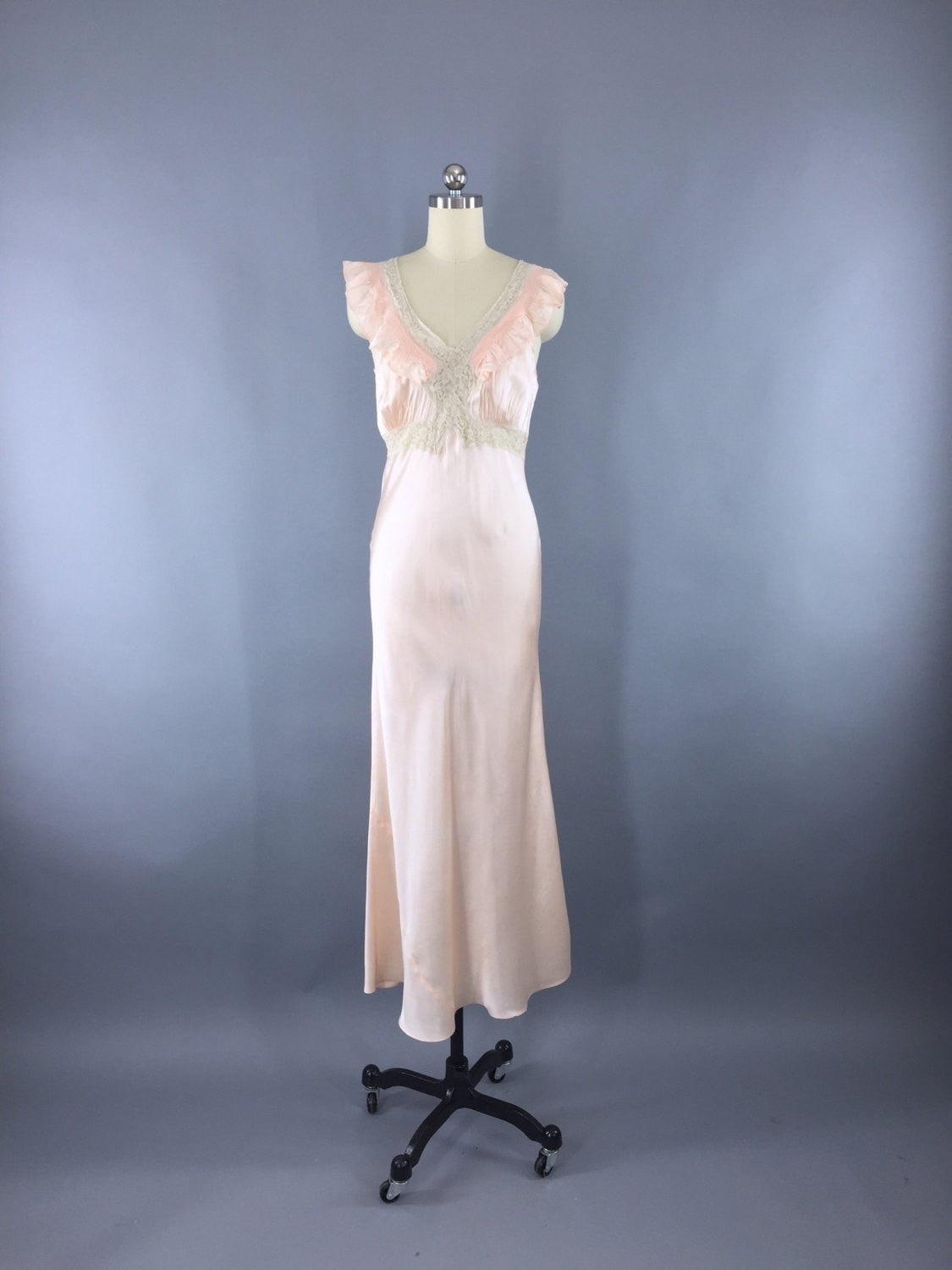 Vintage 1930s Bias Cut Peach Satin Nightgown Lingerie ThisBlueBird
