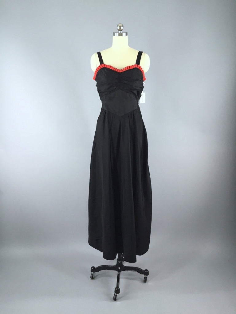 Vintage 1930s Black Maxi Dress with Red Ruffle Trim Dress ThisBlueBird