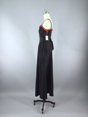 Vintage 1930s Black Maxi Dress with Red Ruffle Trim - ThisBlueBird
