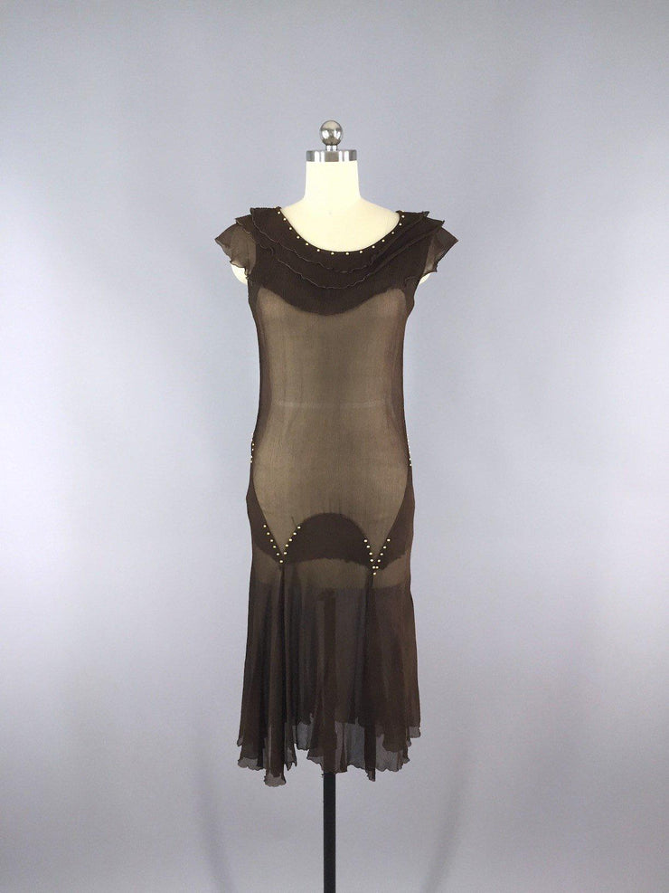 Vintage 1930s Chocolate Brown Silk Chiffon Party Dress Dress ThisBlueBird