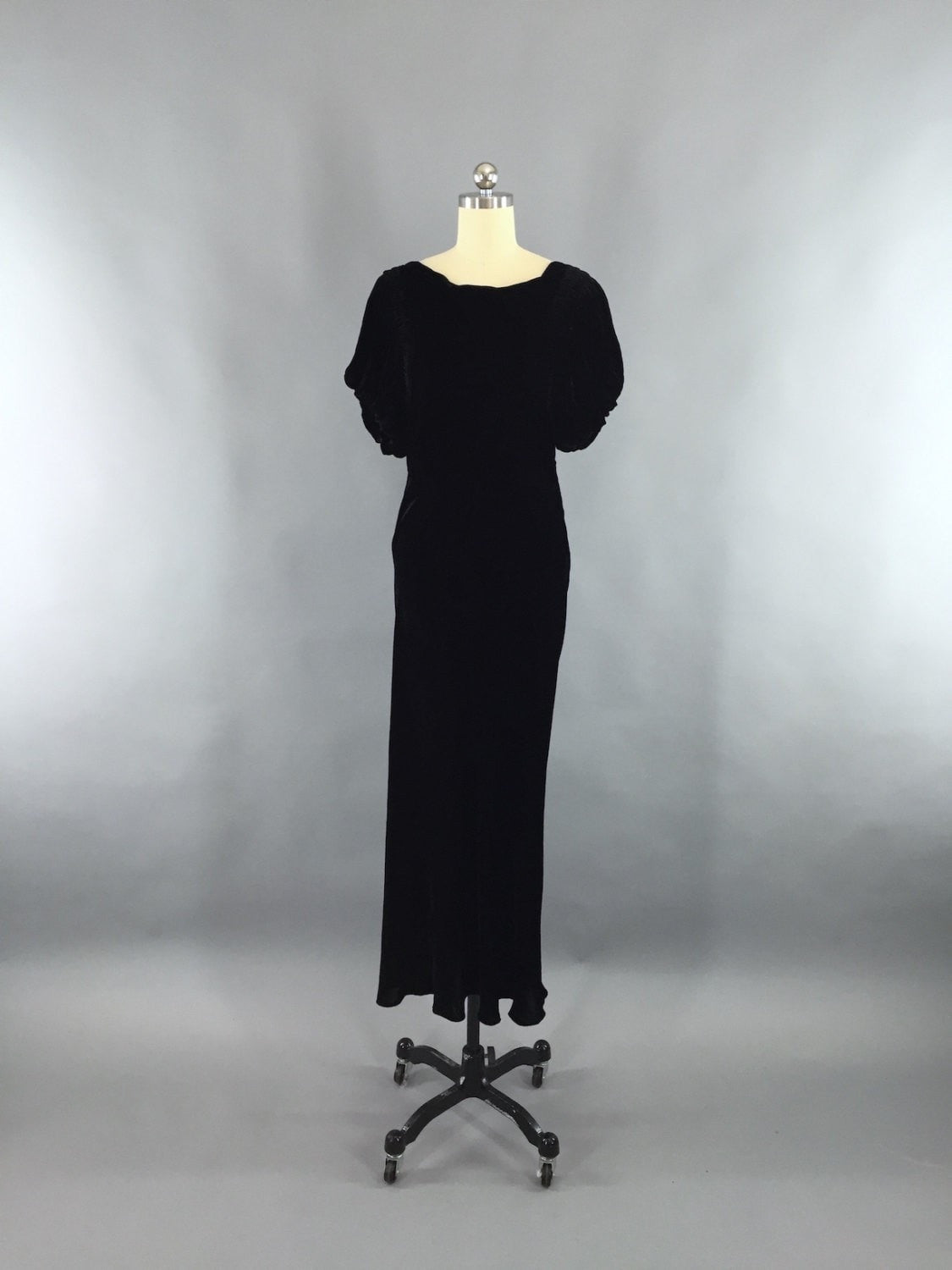 Vintage 1930s Dress / Bias Cut Dress Black Velvet Gown Dress ThisBlueBird