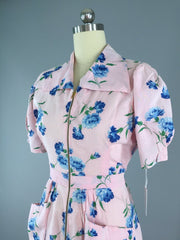 Vintage 1930s Hostess Dress / Floral Print Cotton Dress ThisBlueBird