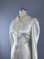 Vintage 1930s Ivory Bias Cut Satin and Lace Wedding Gown Dress ThisBlueBird