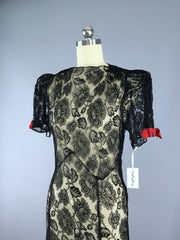 Vintage 1930s Maxi Dress / Black Lace Dress ThisBlueBird