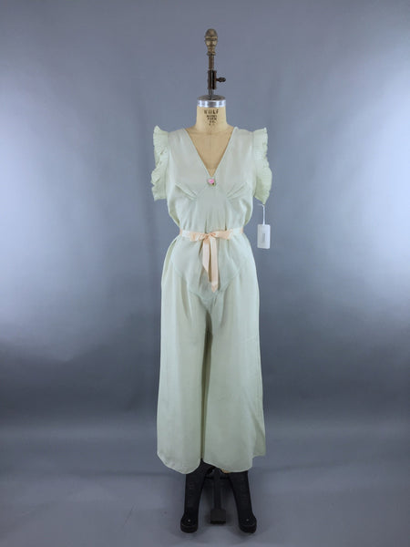 Vintage 1930s Mint Green Beach Pajamas Jumpsuit