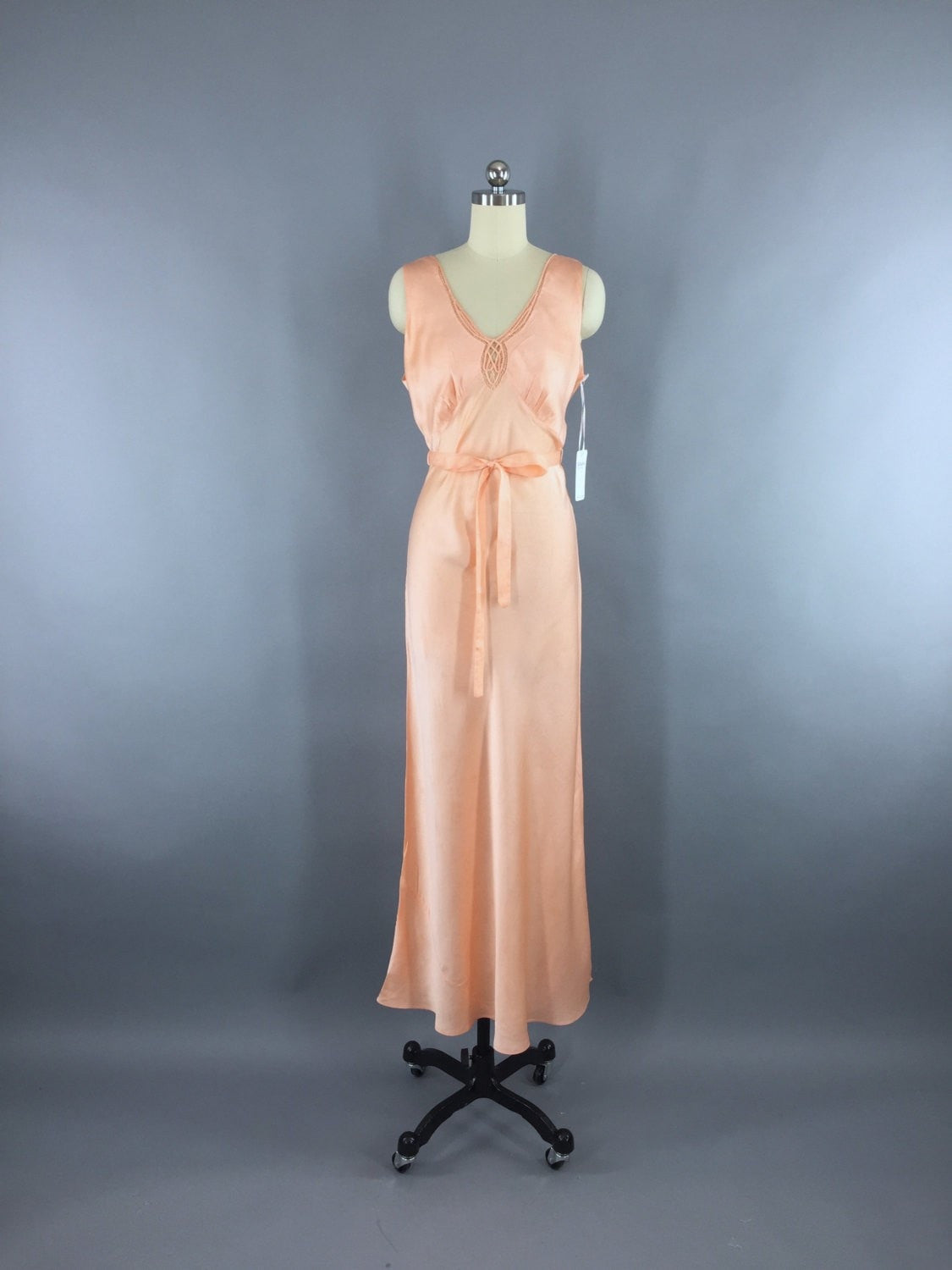 Vintage 1930s Nightgown / Bias Cut Peach Satin Lingerie ThisBlueBird