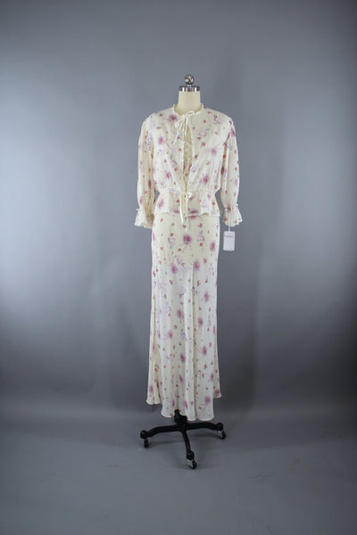 Vintage 1930s Nightgown Set / Wedding Novelty Print