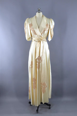 Vintage 1930s Satin and Lace Bias Cut Dressing Gown Robe-ThisBlueBird - Modern Vintage