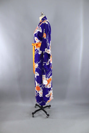 Vintage 1930s Silk Kimono Robe / Blue and Orange Floral-ThisBlueBird - Modern Vintage