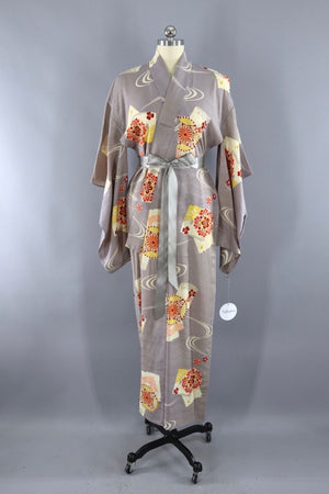 Vintage 1930s Silk Kimono Robe / Grey and Red Floral Print-ThisBlueBird - Modern Vintage