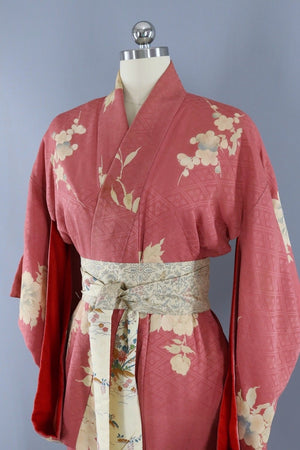 Vintage 1930s Silk Kimono Robe / Mauve Pink and Ivory Floral-ThisBlueBird - Modern Vintage