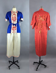Vintage 1930s Silk Pajamas & Robe Set / Red White and Blue Dragons Lingerie ThisBlueBird