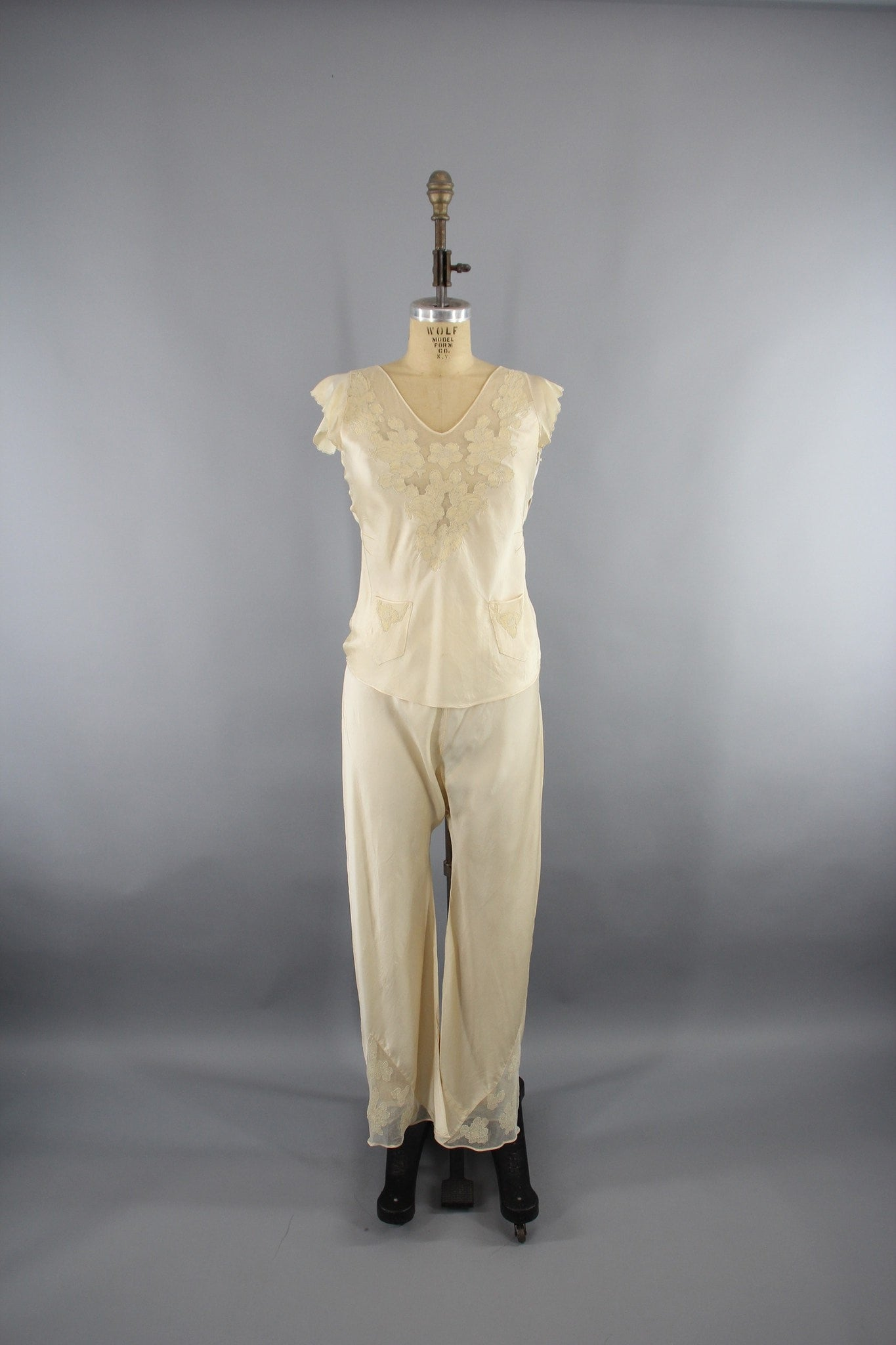 Vintage 1930s Silk Satin and Lace Pajamas Loungewear Lingerie ThisBlueBird