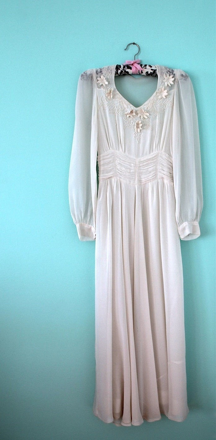 Vintage 1930s White Silk Chiffon Bridal Gown Dress ThisBlueBird