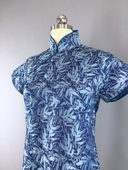 Vintage 1940s Blue and Silver Satin Damask Qi Pao Cheongsam Dress Dress ThisBlueBird