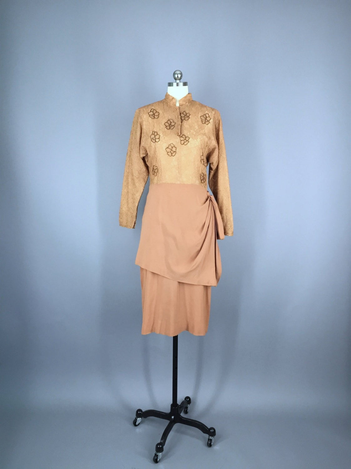 Vintage 1940s Caramel Brown Beaded  Lace Cocktail Dress Dress ThisBlueBird - Sale