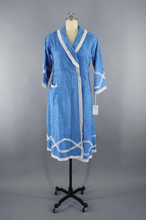 Vintage 1940s Chenille Robe with Blue Peacock-ThisBlueBird - Modern Vintage