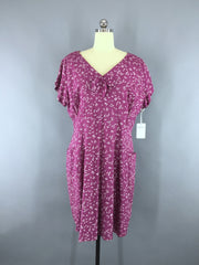 Vintage 1940s Day Dress / Purple Novelty Print Cotton Dress ThisBlueBird