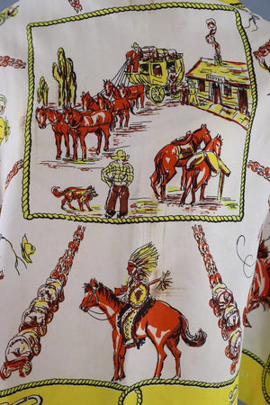 Vintage 1940s Old West Novelty Print Scarf