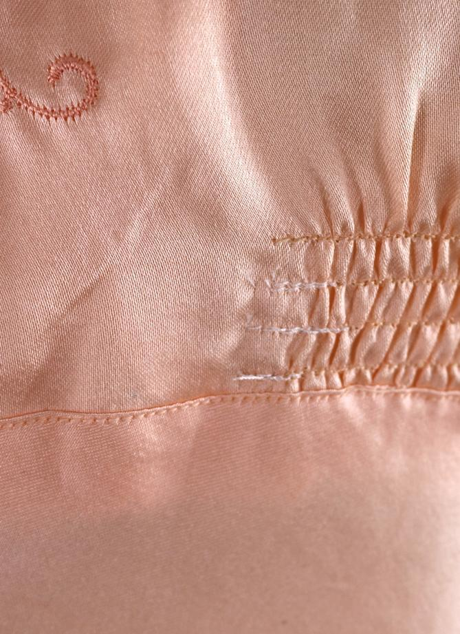 Vintage 1940s Pajama Top / Embroidered Peach Satin Loungewear ThisBlueBird