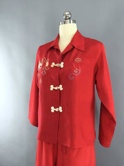 Vintage 1940s Pajamas Set with Red Embroidered Dragon Lingerie ThisBlueBird