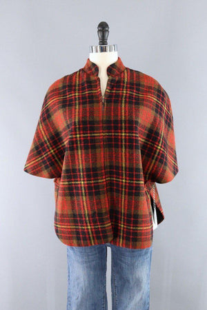 Vintage 1940s Red Wool Plaid Cape Jacket-ThisBlueBird - Modern Vintage