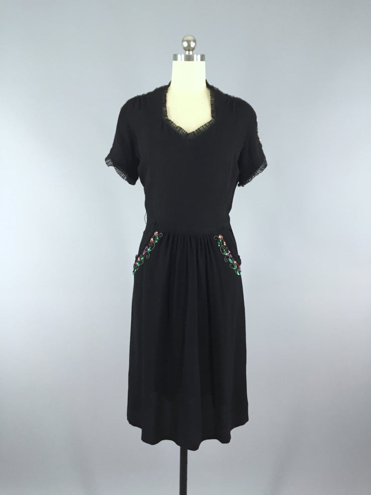 Vintage 1940s Sequined Crepe Dress Dress ThisBlueBird