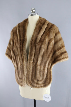 Vintage 1940s to 1950s Brown Striped Fur Stole Cape-ThisBlueBird - Modern Vintage