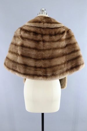 Vintage 1940s to 1950s Brown Striped Fur Stole Cape - ThisBlueBird
