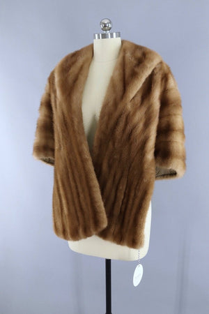 Vintage 1940s to 1950s Tan Fur Stole Cape - ThisBlueBird