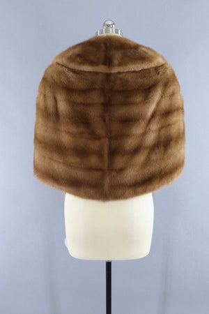 Vintage 1940s to 1950s Tan Fur Stole Cape-ThisBlueBird - Modern Vintage